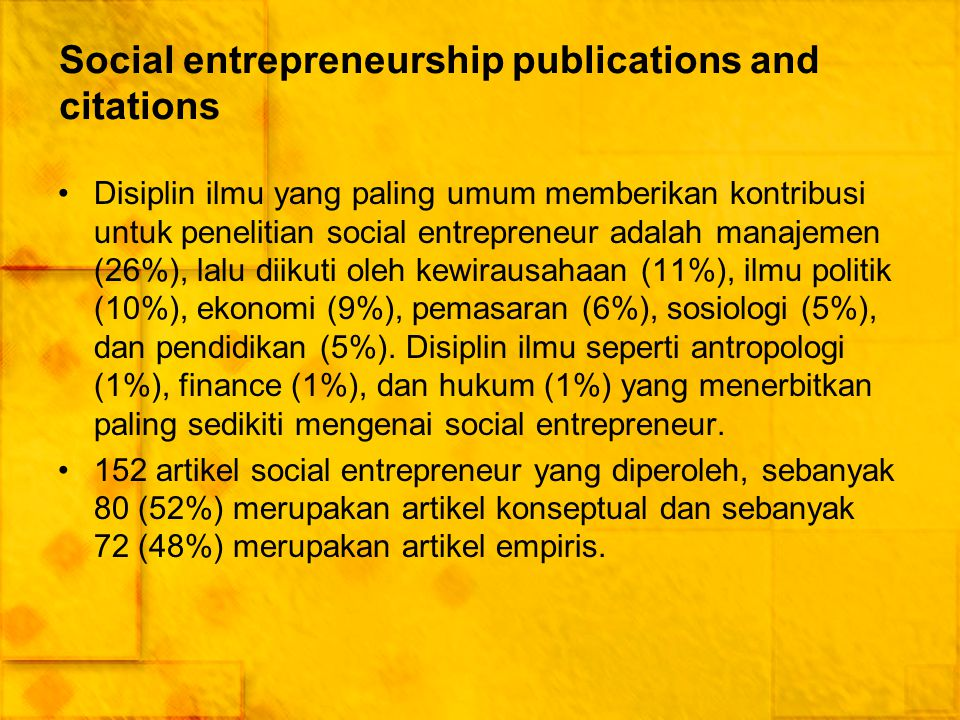 Social entrepreneurship publications and citations