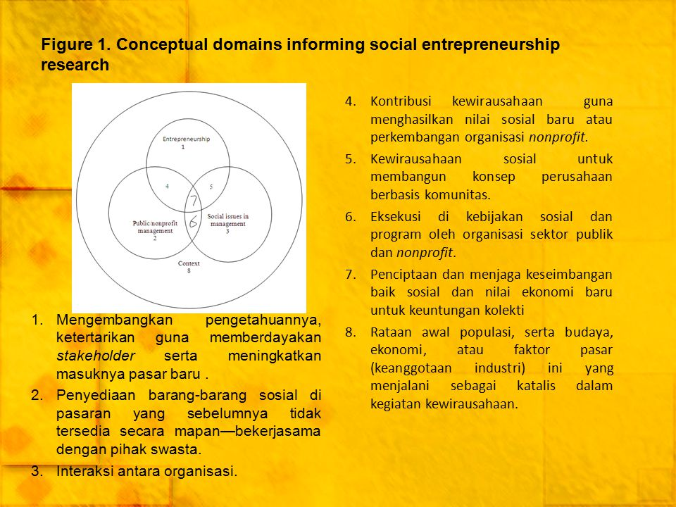 Figure 1. Conceptual domains informing social entrepreneurship research