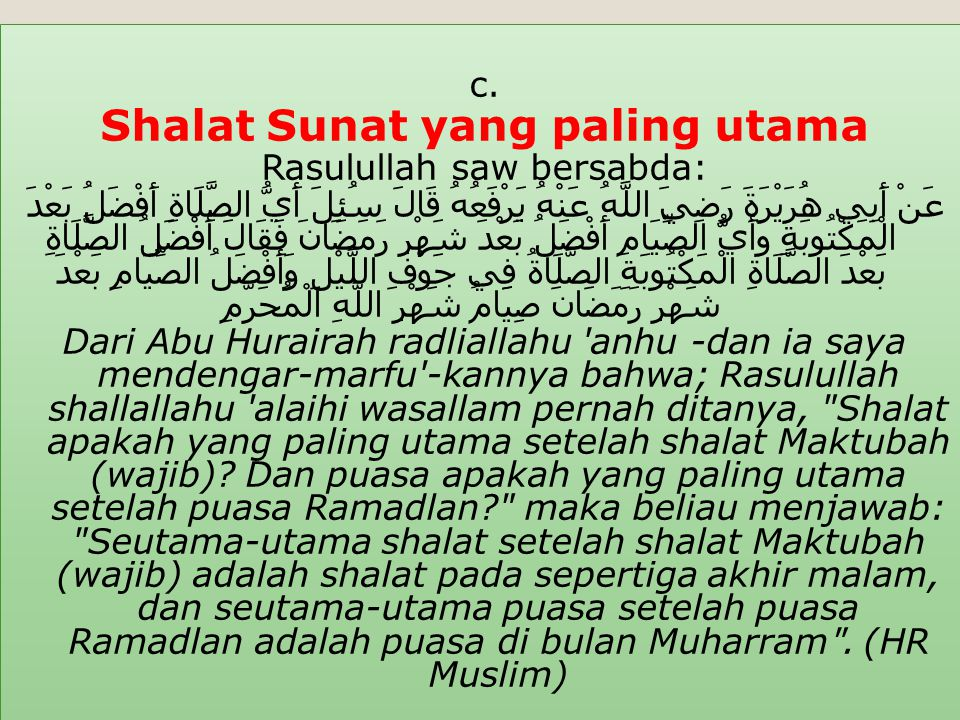 Shalat Sunat yang paling utama