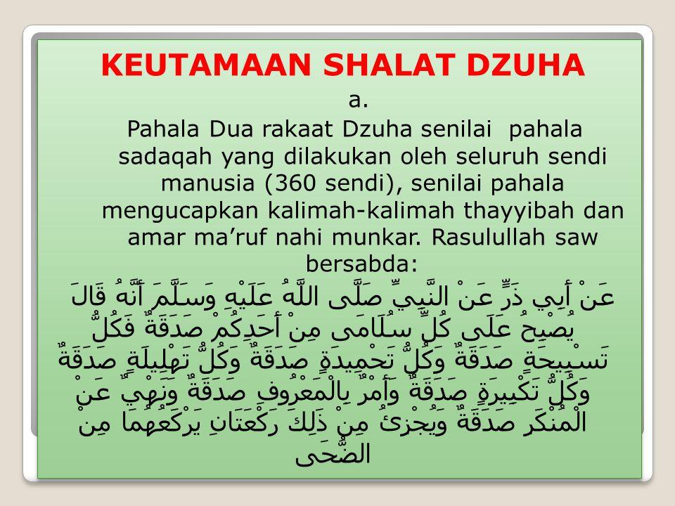 KEUTAMAAN SHALAT DZUHA