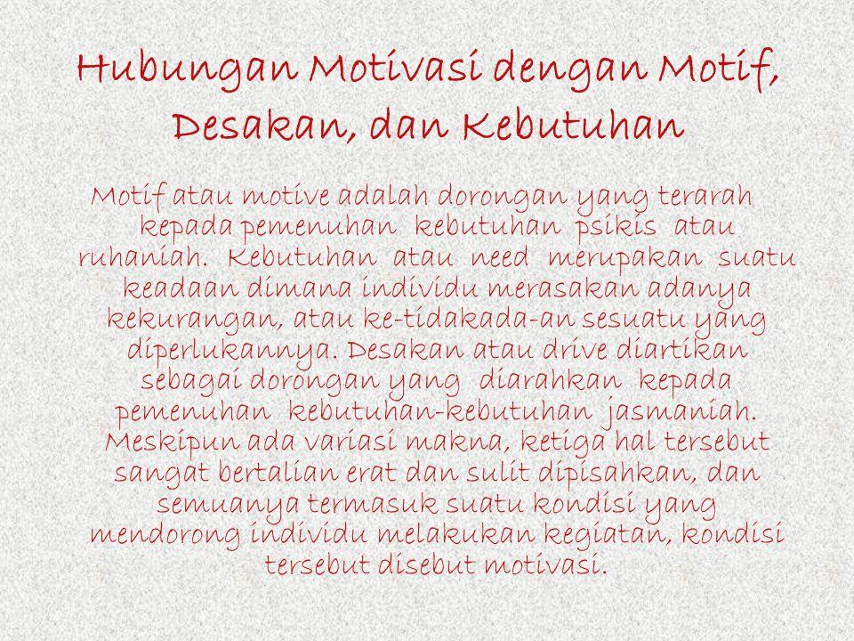 Hubungan Motivasi dengan Motif, Desakan, dan Kebutuhan