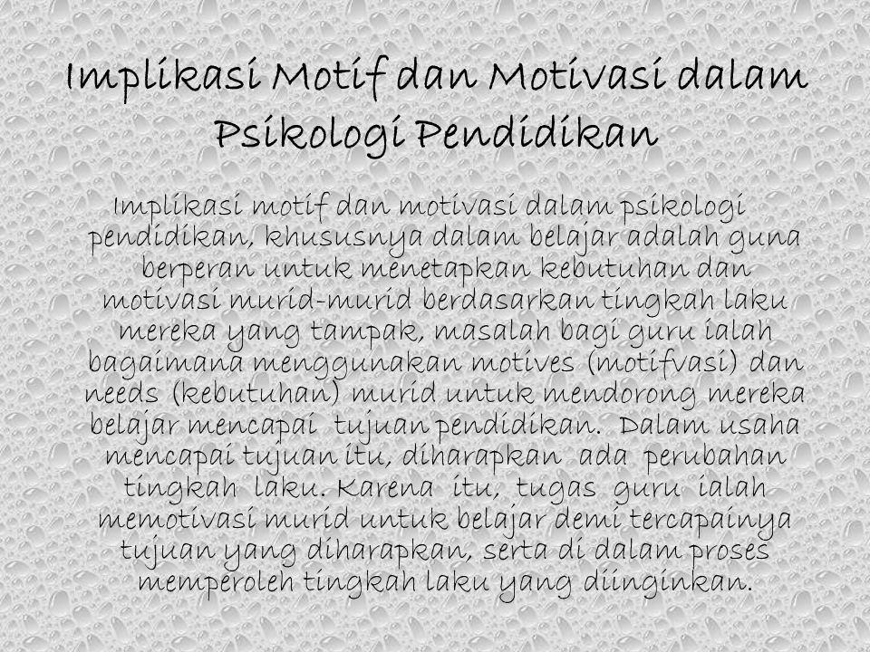 Implikasi Motif dan Motivasi dalam Psikologi Pendidikan