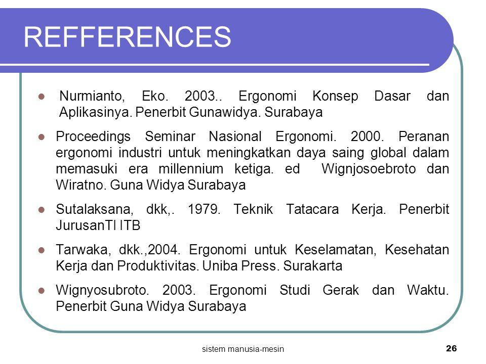 REFFERENCES Nurmianto, Eko. 2003.. Ergonomi Konsep Dasar dan Aplikasinya. Penerbit Gunawidya. Surabaya.