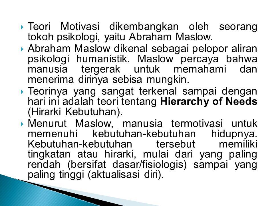 Teori Motivasi dikembangkan oleh seorang tokoh psikologi, yaitu Abraham Maslow.