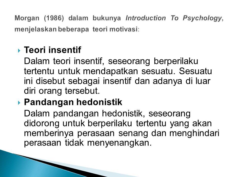 Morgan (1986) dalam bukunya Introduction To Psychology, menjelaskan beberapa teori motivasi: