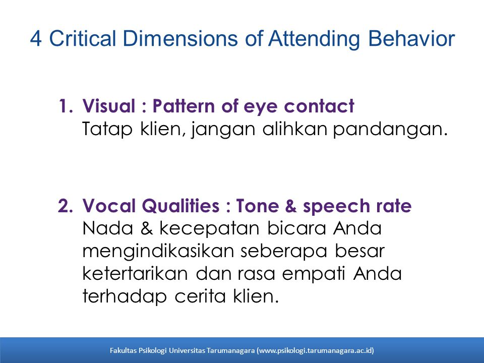 4 Critical Dimensions of Attending Behavior