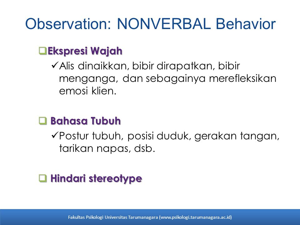 Observation: NONVERBAL Behavior