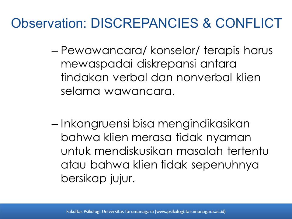 Observation: DISCREPANCIES & CONFLICT