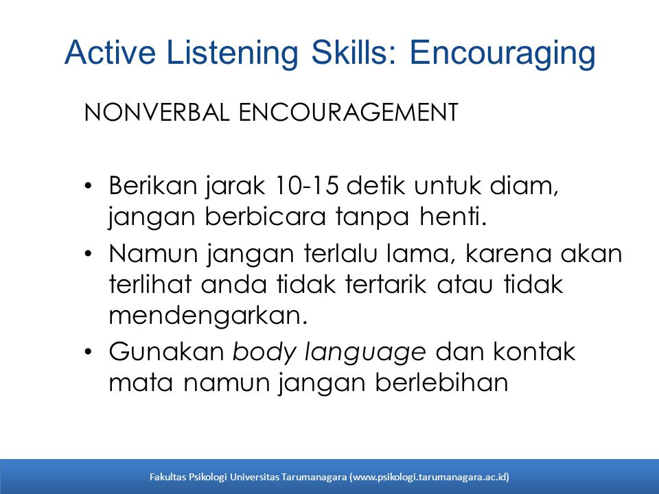 Active Listening Skills: Encouraging
