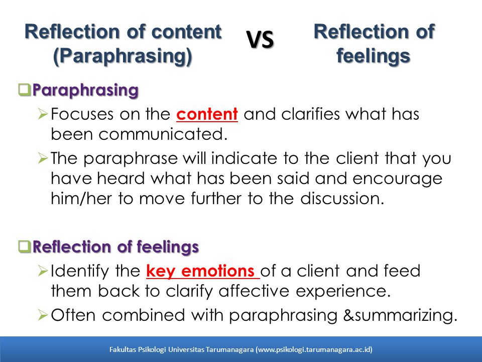 VS Reflection of content (Paraphrasing) Reflection of feelings