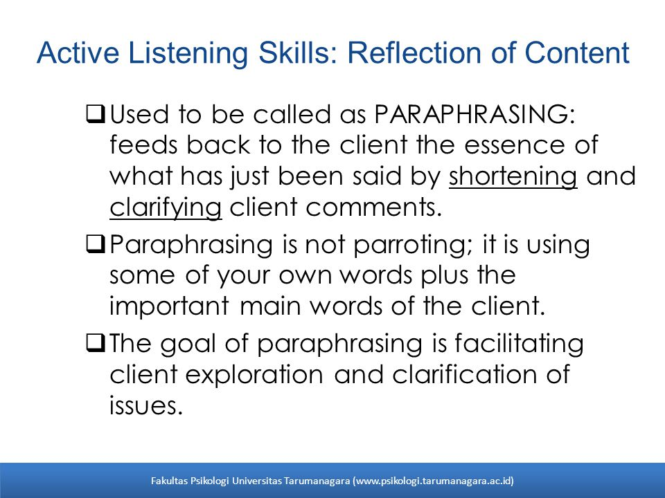 Active Listening Skills: Reflection of Content