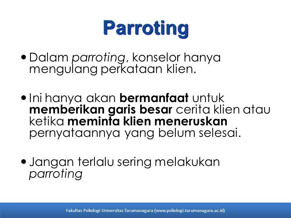 Parroting Dalam parroting, konselor hanya mengulang perkataan klien.
