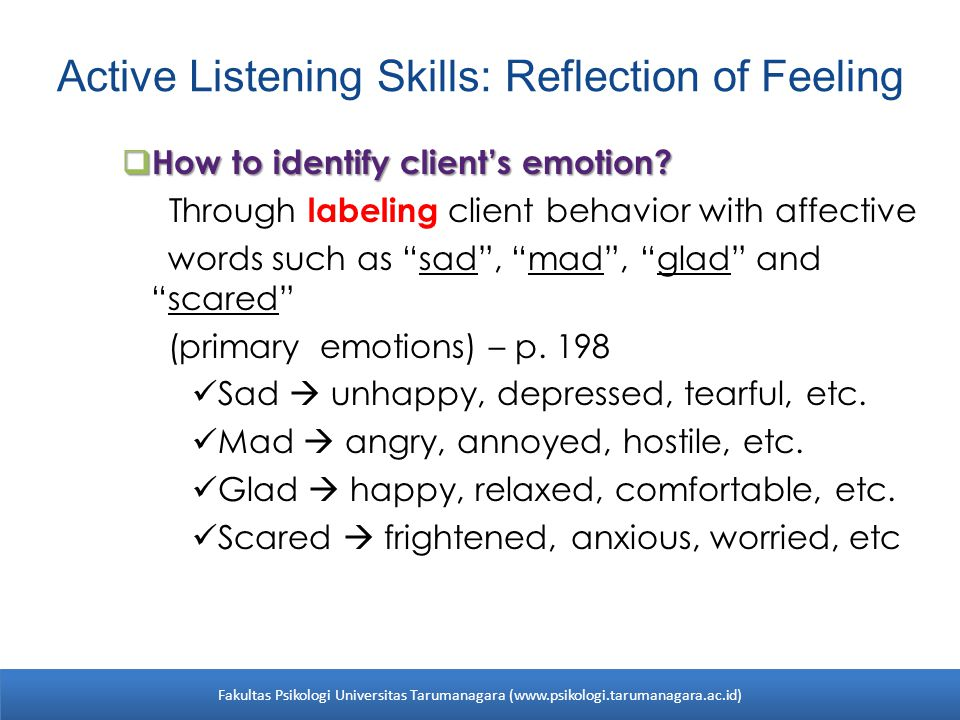 Active Listening Skills: Reflection of Feeling