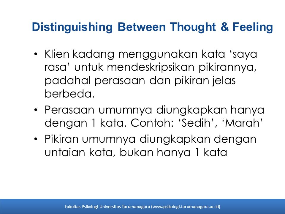 Distinguishing Between Thought & Feeling