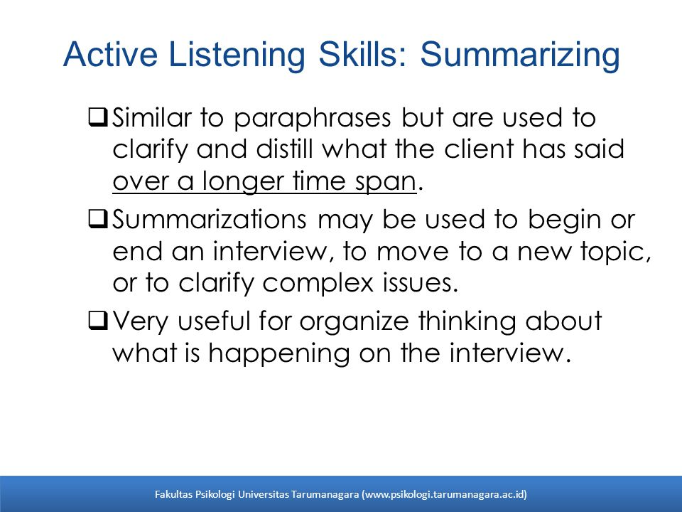 Active Listening Skills: Summarizing