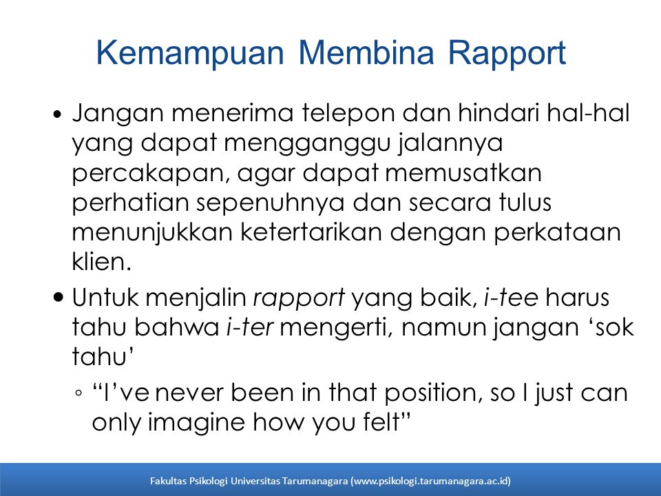 Kemampuan Membina Rapport