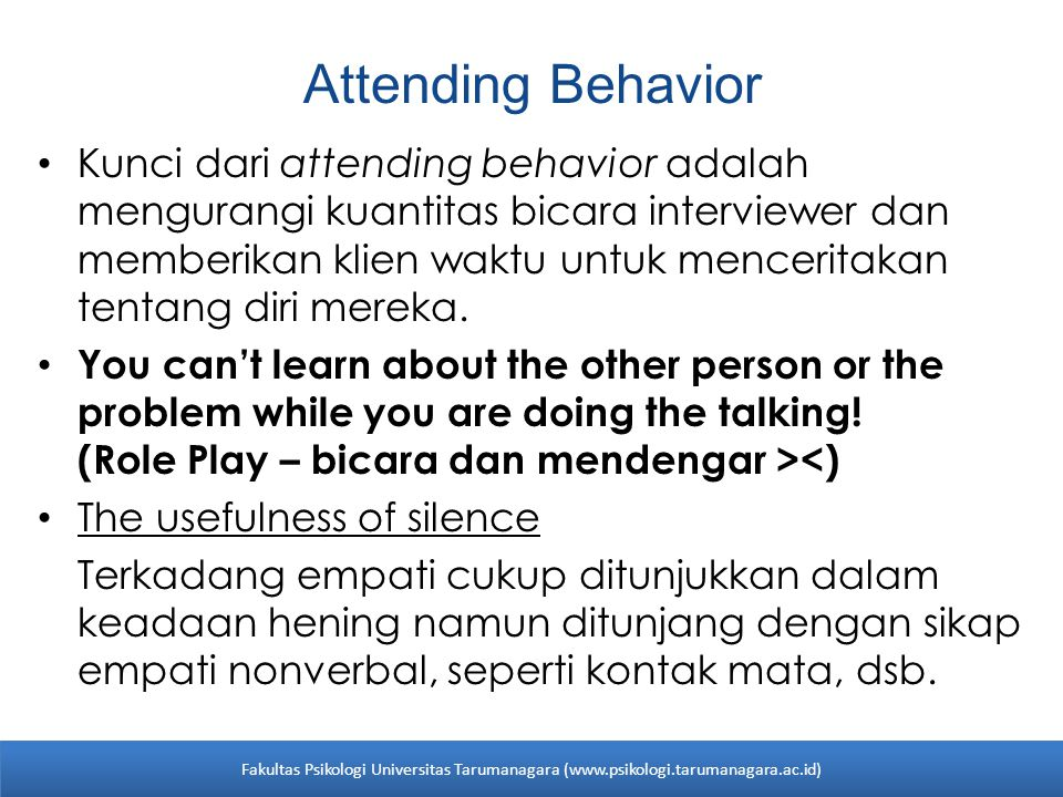 Attending Behavior
