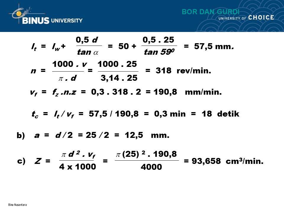 tc = lt / vf = 57,5 / 190,8 = 0,3 min = 18 detik