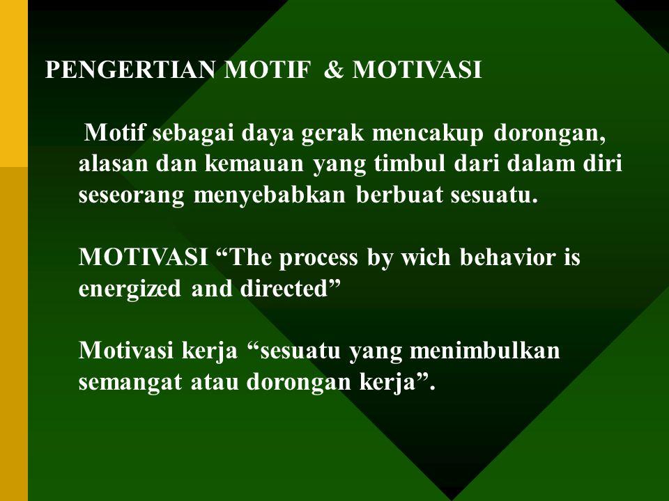PENGERTIAN MOTIF & MOTIVASI
