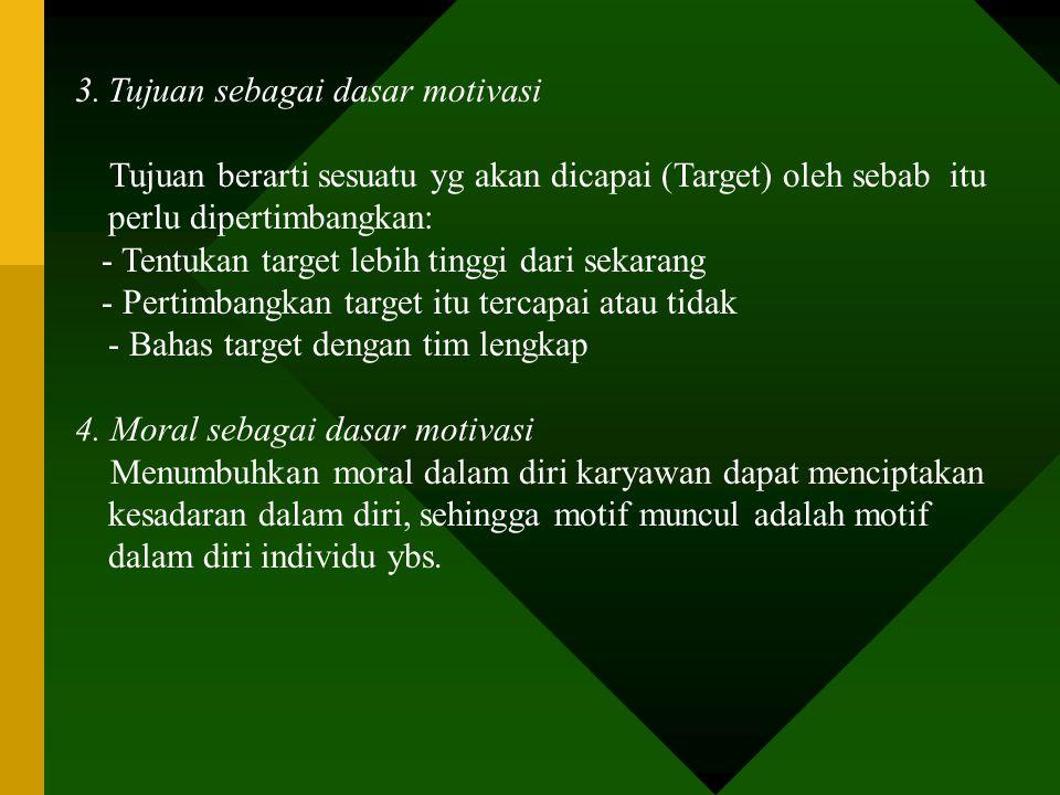 3. Tujuan sebagai dasar motivasi