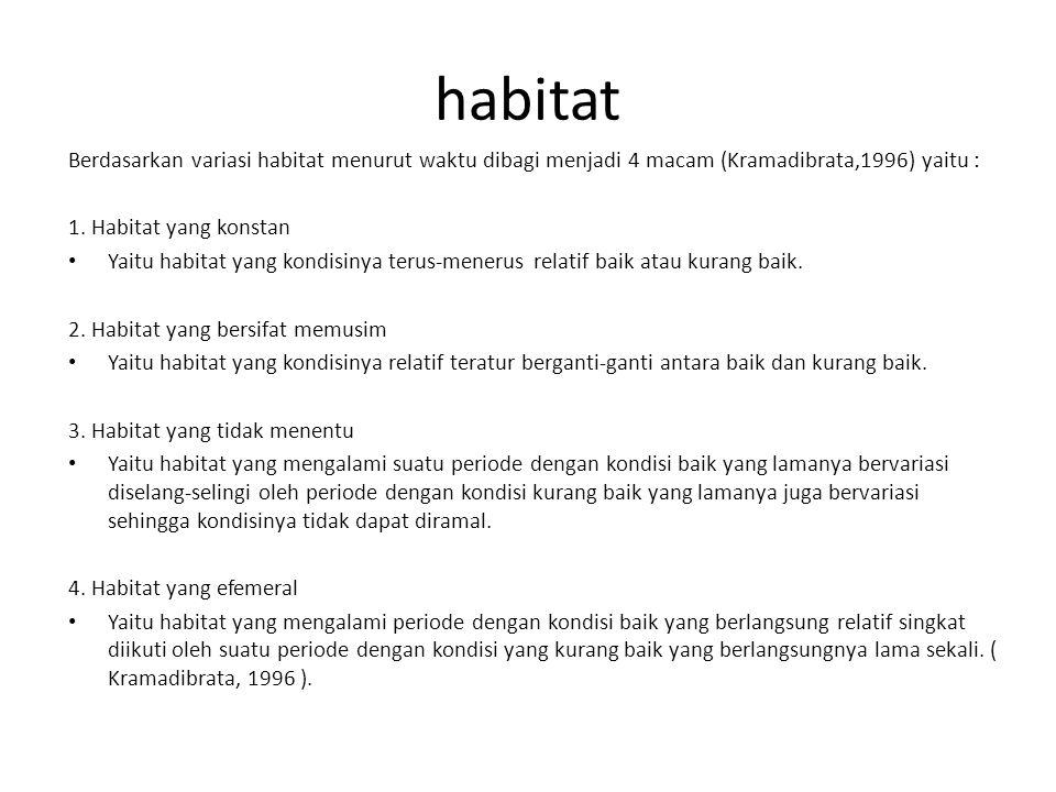 habitat Berdasarkan variasi habitat menurut waktu dibagi menjadi 4 macam (Kramadibrata,1996) yaitu :