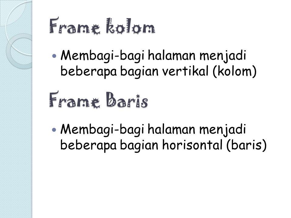 Frame kolom Frame Baris