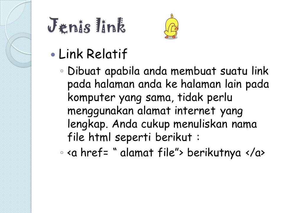 Jenis link Link Relatif