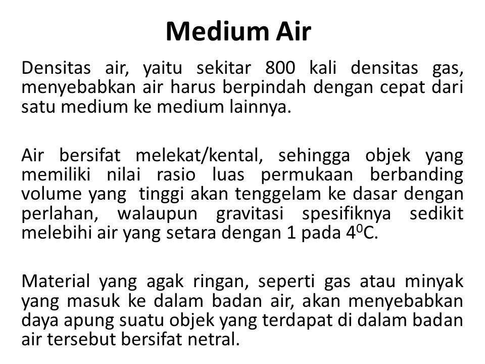 Medium Air Densitas air, yaitu sekitar 800 kali densitas gas, menyebabkan air harus berpindah dengan cepat dari satu medium ke medium lainnya.