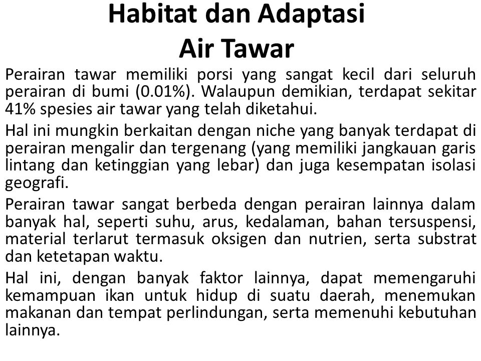 Habitat dan Adaptasi Air Tawar