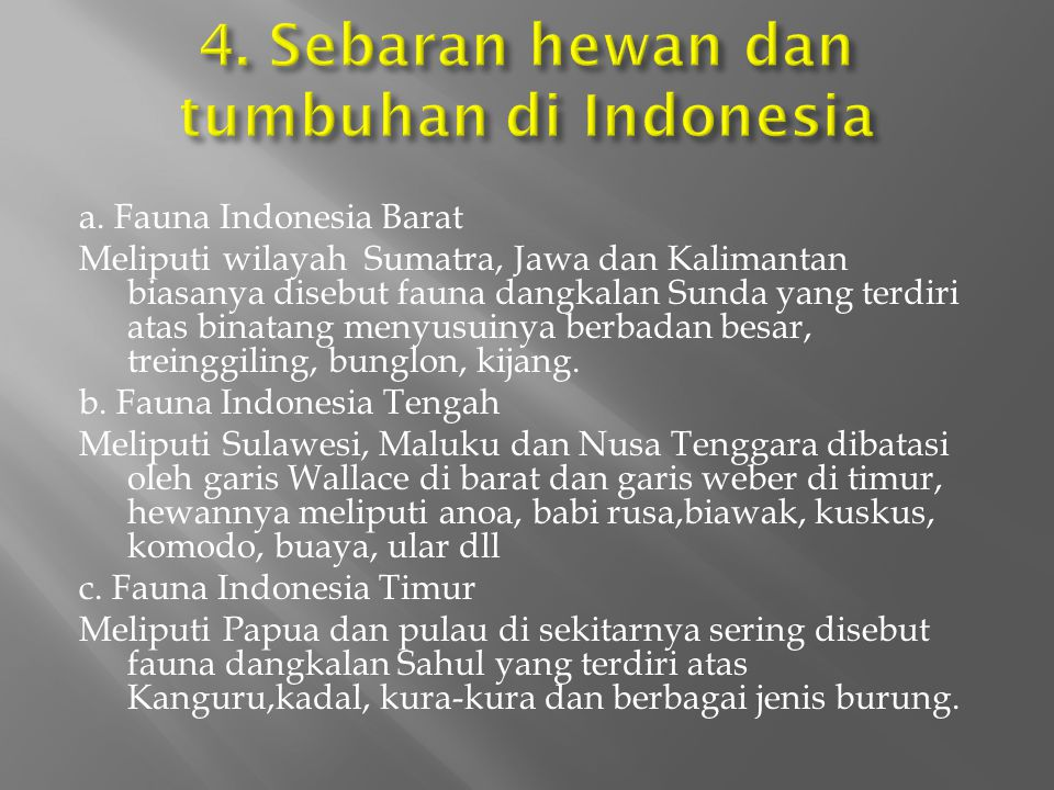 4. Sebaran hewan dan tumbuhan di Indonesia