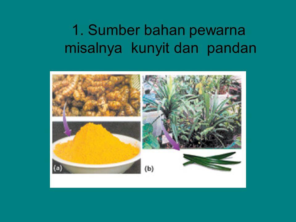 1. Sumber bahan pewarna misalnya kunyit dan pandan