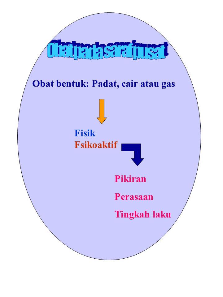 Obat pada saraf pusat Obat bentuk: Padat, cair atau gas Fisik