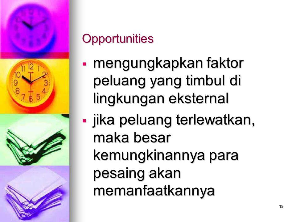 mengungkapkan faktor peluang yang timbul di lingkungan eksternal