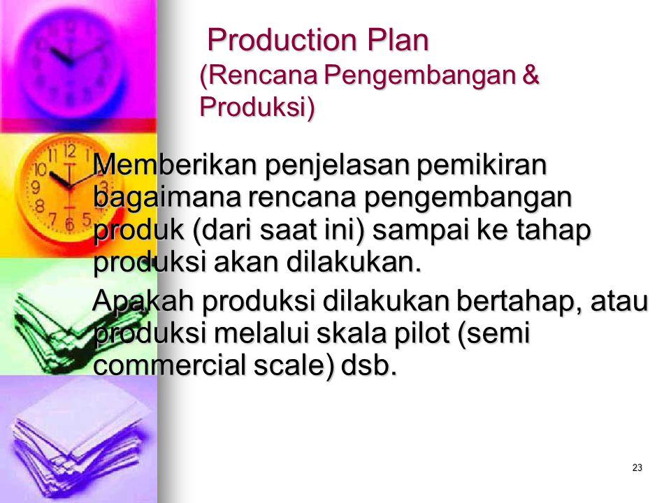 Production Plan (Rencana Pengembangan & Produksi)