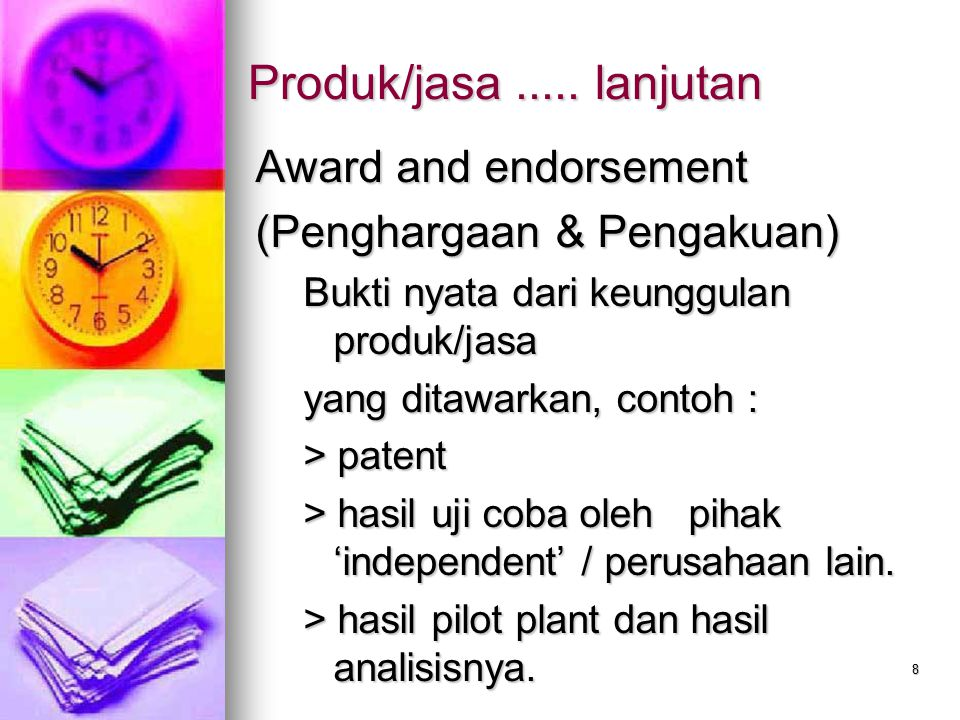 Produk/jasa ..... lanjutan Award and endorsement