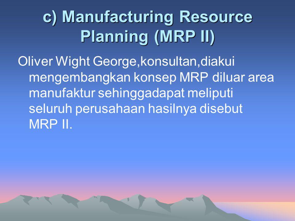 c) Manufacturing Resource Planning (MRP II)