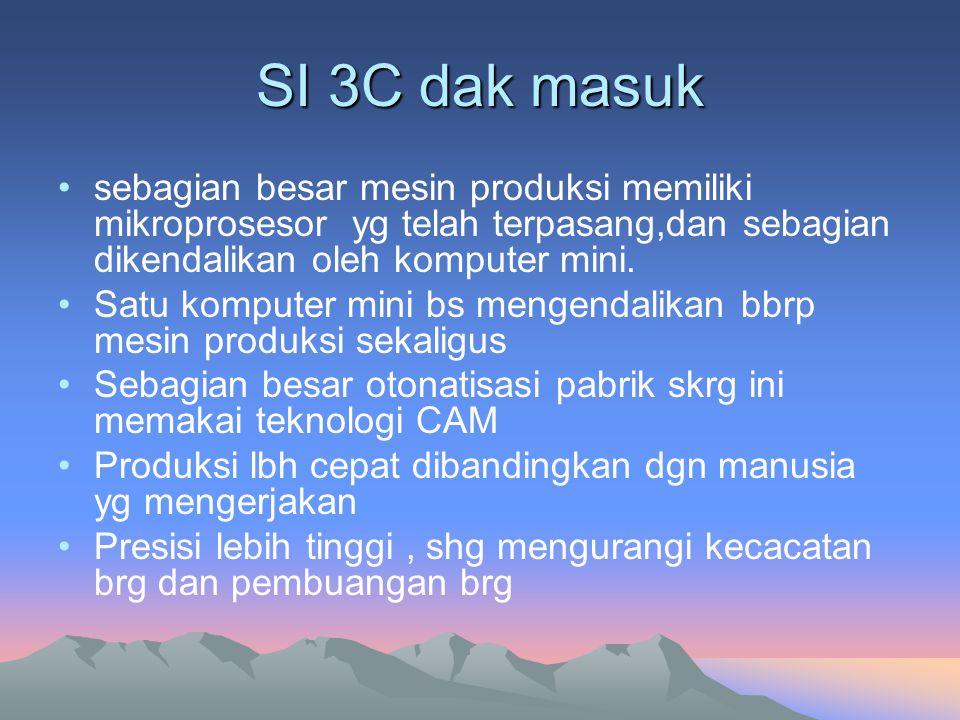 SI 3C dak masuk sebagian besar mesin produksi memiliki mikroprosesor yg telah terpasang,dan sebagian dikendalikan oleh komputer mini.
