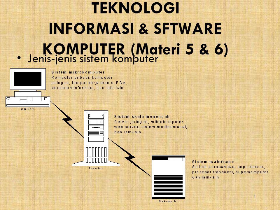 TEKNOLOGI INFORMASI & SFTWARE KOMPUTER (Materi 5 & 6)