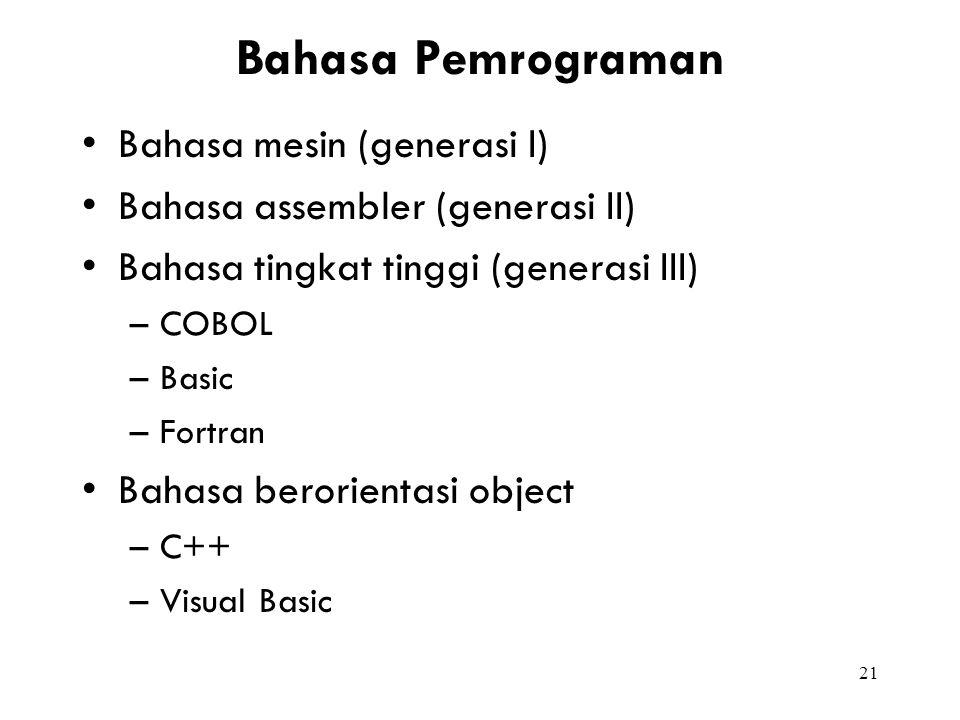 Bahasa Pemrograman Bahasa mesin (generasi I)