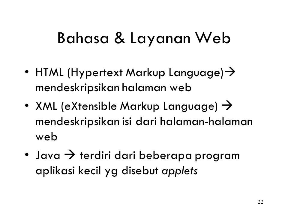 Bahasa & Layanan Web HTML (Hypertext Markup Language) mendeskripsikan halaman web.