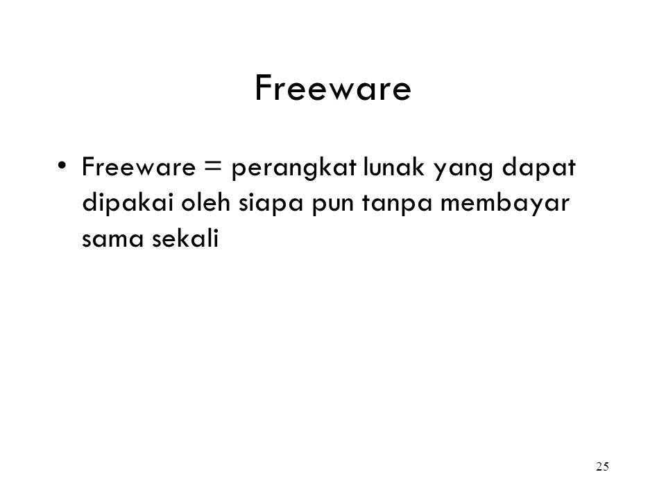Freeware Freeware = perangkat lunak yang dapat dipakai oleh siapa pun tanpa membayar sama sekali