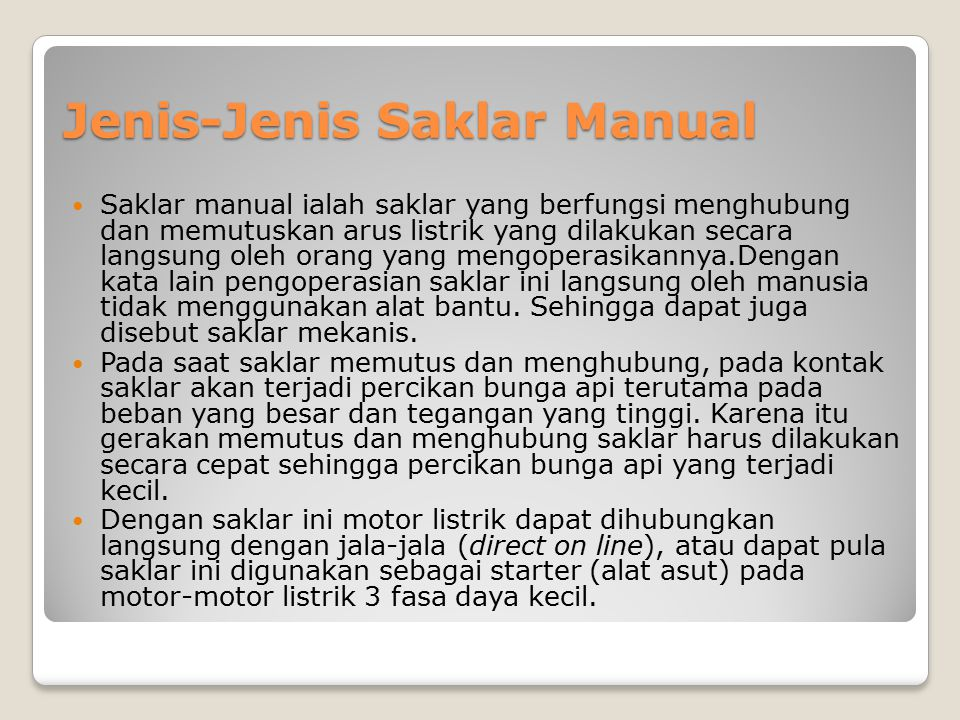 Jenis-Jenis Saklar Manual