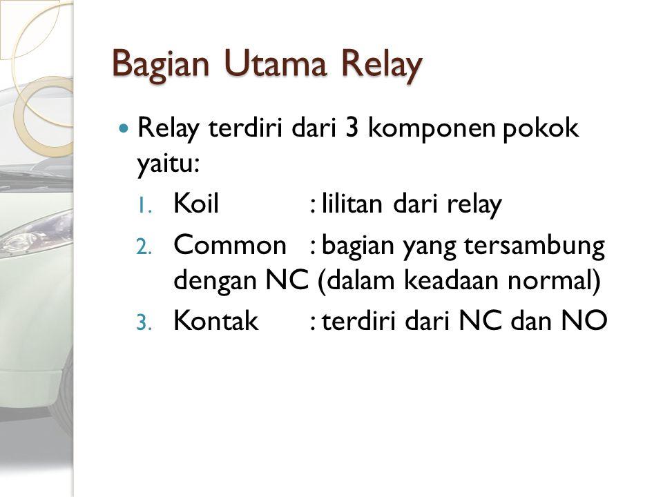 Bagian Utama Relay Relay terdiri dari 3 komponen pokok yaitu: