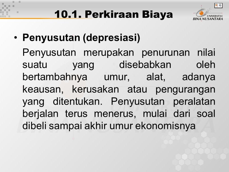 10.1. Perkiraan Biaya Penyusutan (depresiasi)