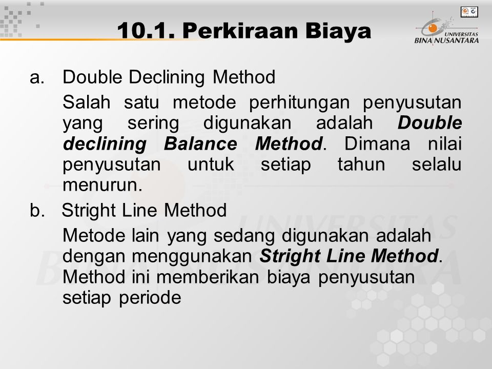 10.1. Perkiraan Biaya Double Declining Method