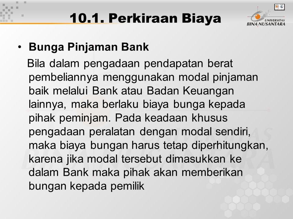 10.1. Perkiraan Biaya Bunga Pinjaman Bank