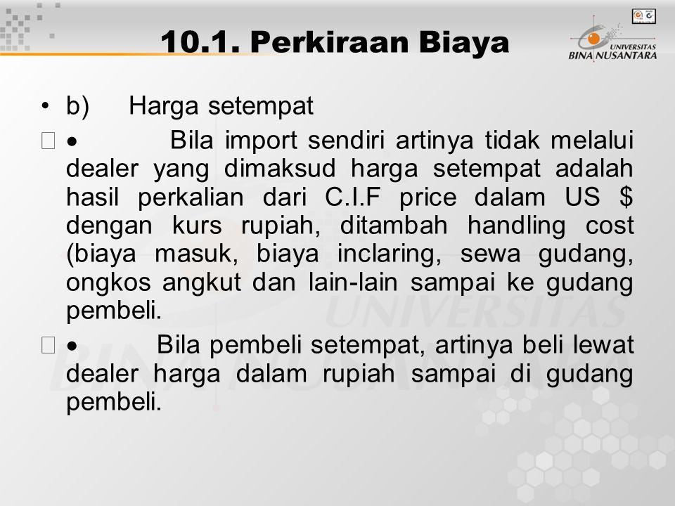 10.1. Perkiraan Biaya b) Harga setempat