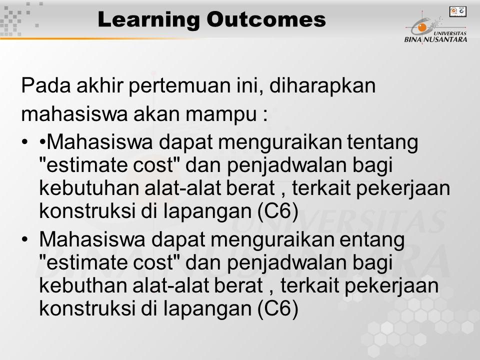 Learning Outcomes Pada akhir pertemuan ini, diharapkan. mahasiswa akan mampu :