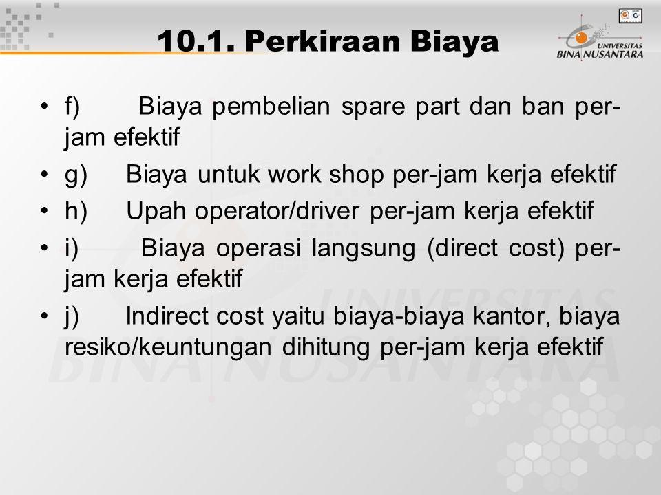 10.1. Perkiraan Biaya f) Biaya pembelian spare part dan ban per-jam efektif. g) Biaya untuk work shop per-jam kerja efektif.