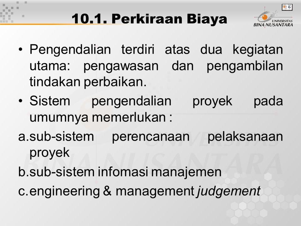 10.1. Perkiraan Biaya Pengendalian terdiri atas dua kegiatan utama: pengawasan dan pengambilan tindakan perbaikan.